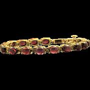 Estate 14 K Rhodolite Garnet Cabochon Bracelet