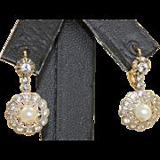 Estate 14 K Two Tone Paste Cultured Pearl Earrings