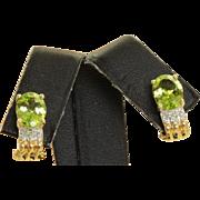 Estate 14 K 2 CT Peridot Diamond Earrings
