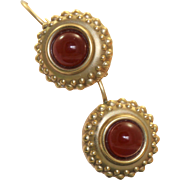 Estate 14 K Carnelian Etruscan Revival Dangle Earrings