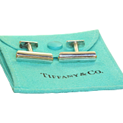 Estate Tiffany Sterling and 18 K Gold Cuff Links
