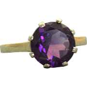Estate 14 K 2.81 CT Amethyst Solitaire Ring