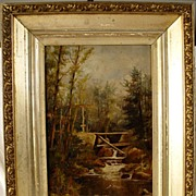 Antique Oil On Board White Mountain School With Period Frame