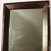 Antique 19TH Century Dark Wood Veneer Framed Mirror
