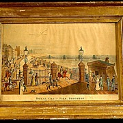 Antique Lemon Gold Frame with Antique Hand Colored Print of The Royal Chain Pier Brighton