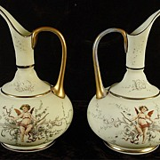 Beautiful Pair of Hand Painted Ewers With Angels or Cherubs
