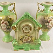 Lovely Set of Vintage Hand Painted Clock With Matching Urns