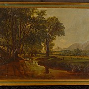 Antique Oil on Canvas Painting Artist Brook White Mountains New Hampshire