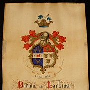 Antique Hand Painted Family Coat Of Arms Barton & Larkin Family