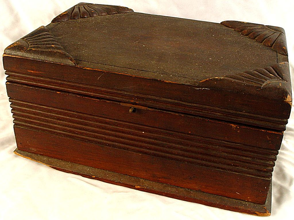 Antique Wooden Document Box  With Working Slide Clasp