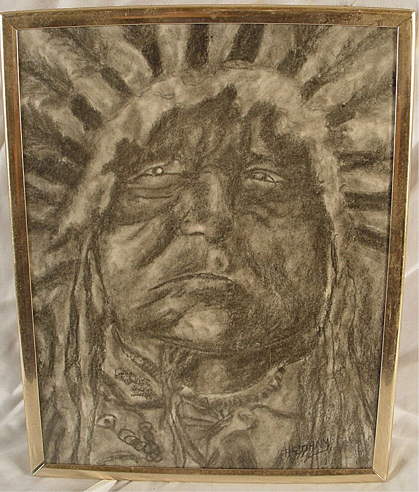 Vintage Charcoal/Graphite Drawing Native American Chief
