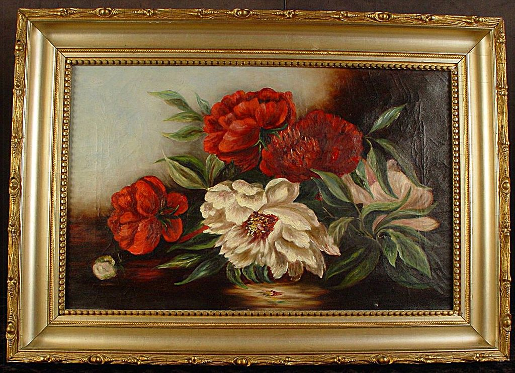 Antique Oil on Canvas Floral Still Life in Great Period Frame