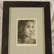 Vintage Etching of a Lady by Canadian Artist Bryce Kanbara