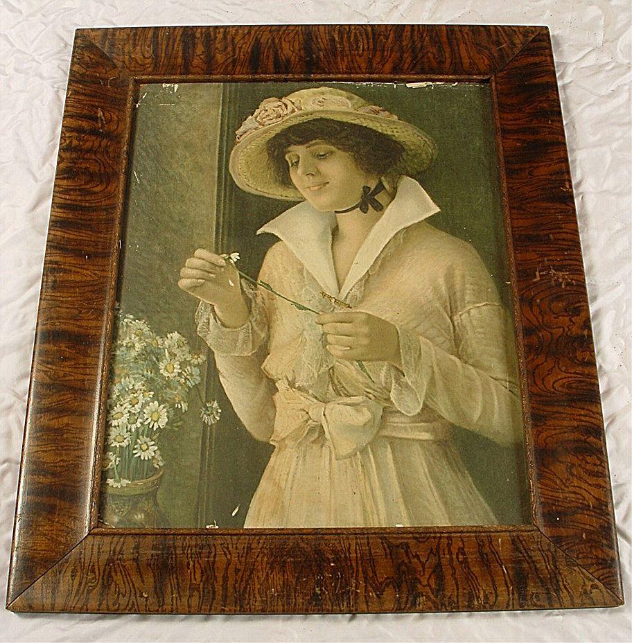 Antique Grain Painted Picture Frame & Victorian Print