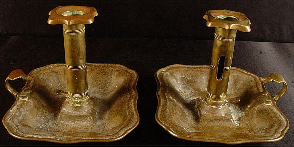 Antique Pair of Matching 19TH Century Brass Pushup Chamber Sticks