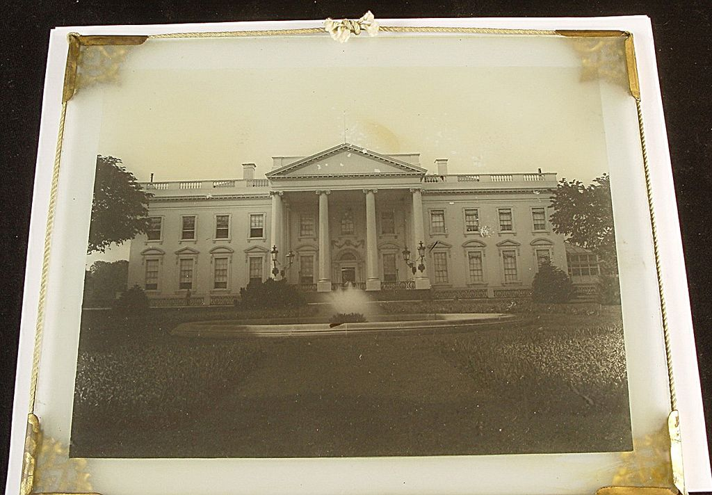 Rare Antique Diapositive Glass Image Of The White House