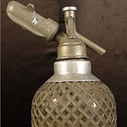 Antique Sparkletts Seltzer Bottle With Pewter Overlay & C02 Cartridge Holder