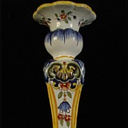 Antique Fourmaintraux-Courquin Hand Painted Desvres Candlestick