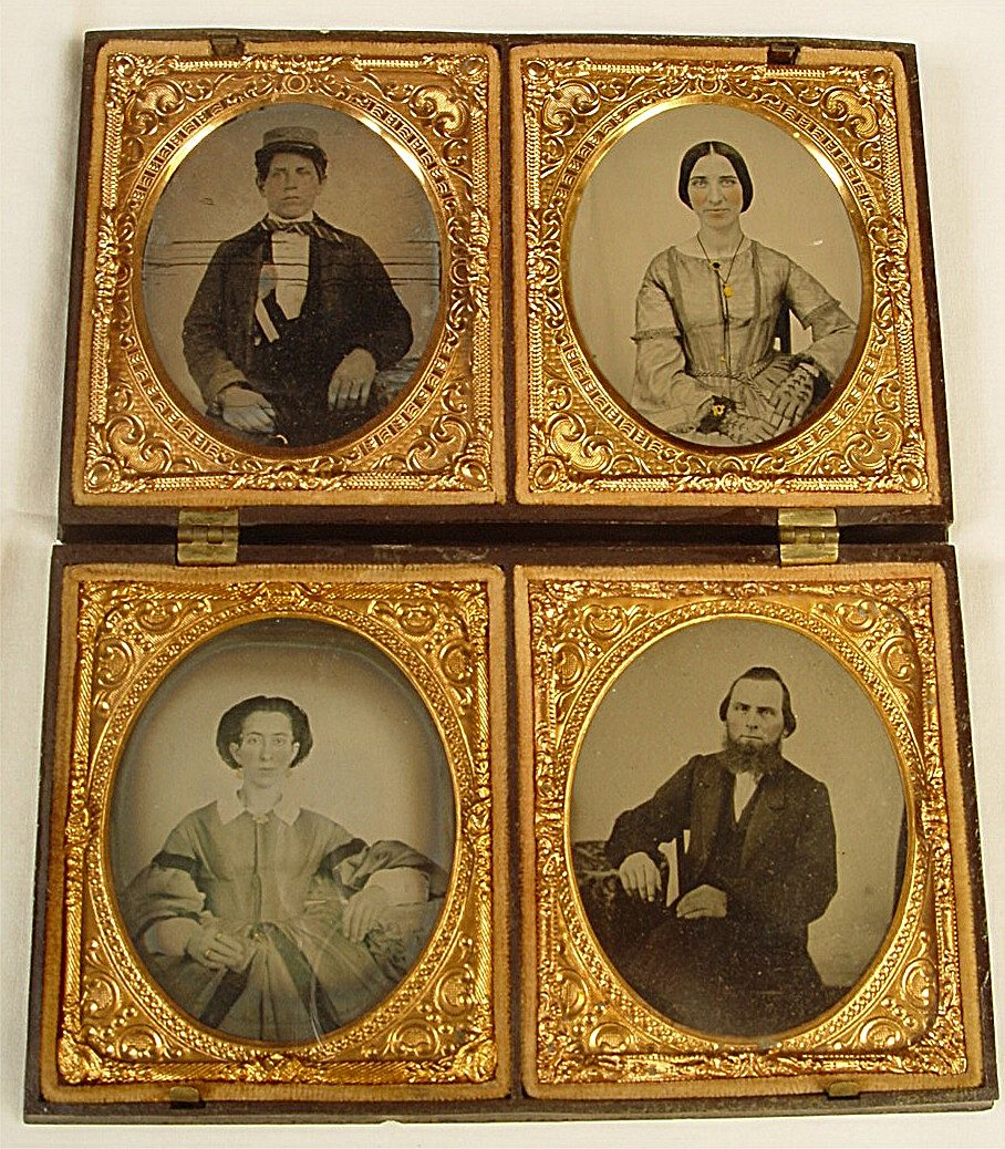Four Ruby Ambrotype Portraits in one Large Gutta Percha Case
