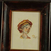 Miniature Gouache Portrait Young Girl Artist Signed