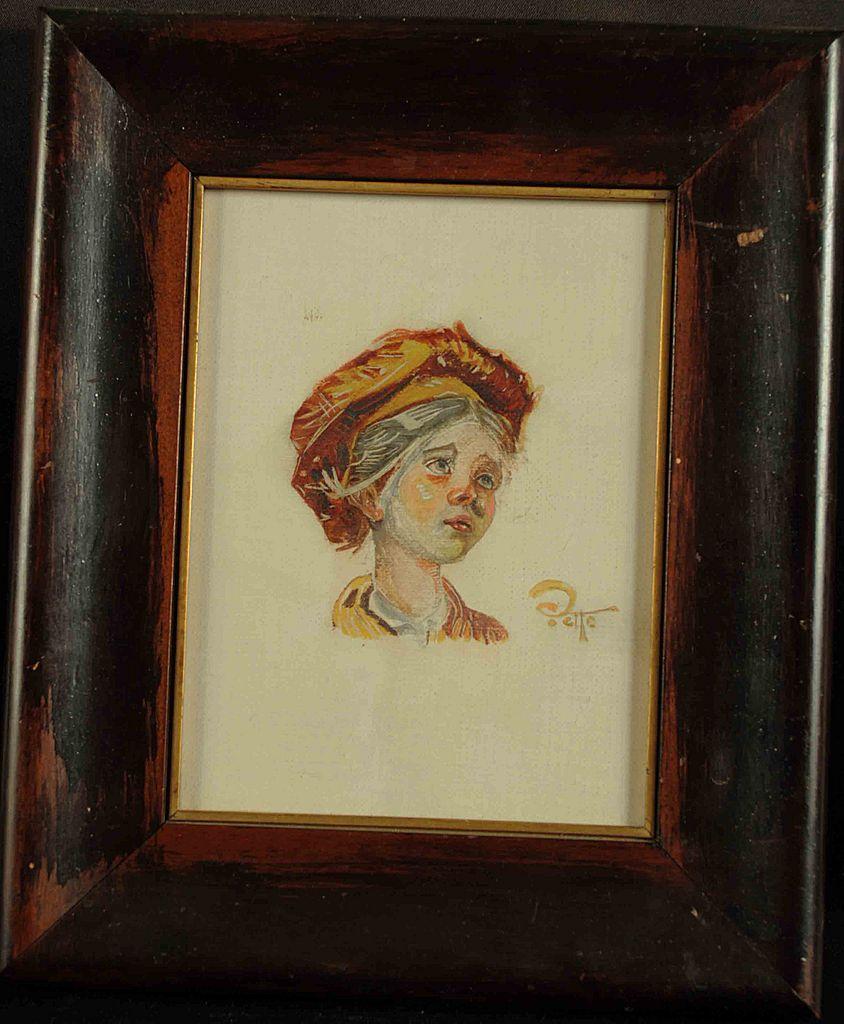 Miniature Gouache Portrait Young Girl Artist Signed