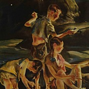 "Vintage 1939 John E Costigan Print ""Fisherman Three"""