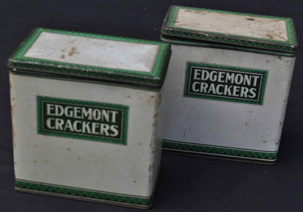 2 Vintage Edgemont Crackers Tins Dayton Ohio