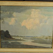 Vintage Impressionist Oil on Canvas Seashore Painting Lynn Marsh