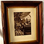 Antique Carved Walnut Frame With Gilded Border and Print