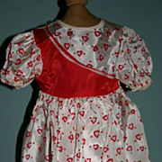 Large Factory vintage Valentine doll  dress red  hearts