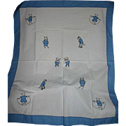 Must see Vintage Baby child's appliqued & embroidered quilt cover folk art