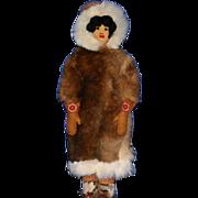 """Vintage 16"""" Inuit Eskimo Alaskan fur leather doll"""
