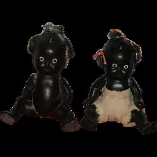 "Vintage 4"" Twins Black bisque baby dolls Japan"