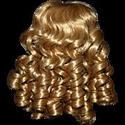 Blonde synthetic doll wig  11/12 MIB curls bangs