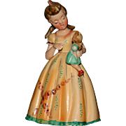 """5.5"""" occupied Japan bisque figurine damage free girl with doll"""