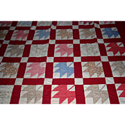 "Large 30's Maple leaf Quilt red borders 100"" x 72"" TLC"