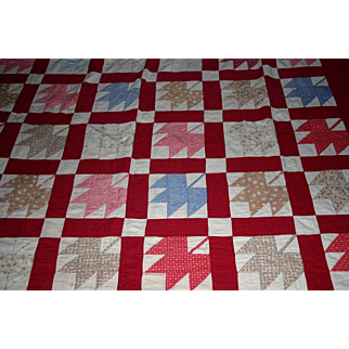 """Large 30's Maple leaf Quilt red borders 100"""" x 72"""" TLC"""