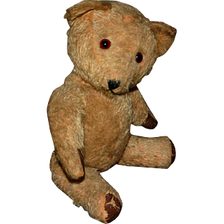 "Vintage early 16"" light golden mohair bear stick pin glass eyes rexine pads"