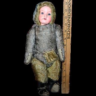 """14"""" German mohair bear doll"""