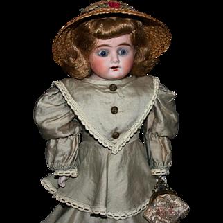 """Antique German bisque 1897 Kestner N alphabet series 17"""" lady paperweight eyes kid body"""