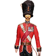 I-H-Arthur carved wood figure British Officer 1914 Royal Scots Fusiliers circa 1970s  EXC