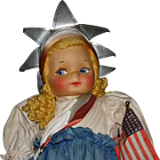"""Vintage """"13 Miss America cloth mask face doll by Georgene"""