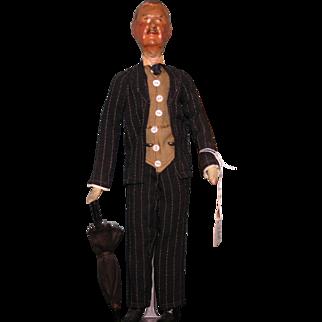 British Prime Minister Neville Chamberlain Vintage art doll Political figure RARE