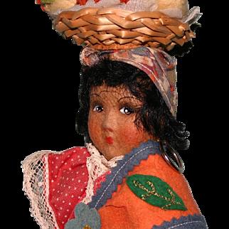 "Vintage Kimport cloth felt Rosita Brazil 10""doll"