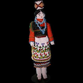 "Vintage 1966 Beaded Zuni Indian doll XLARGE 12"" Stunning"