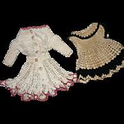 Vintage crocheted doll dresses
