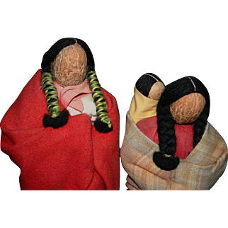 Rare Native American Vintage English Walnut head North Dakota dolls