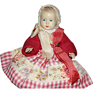 """Vintage 5"""" celluloid jointed baby doll toddler in regional costume"""
