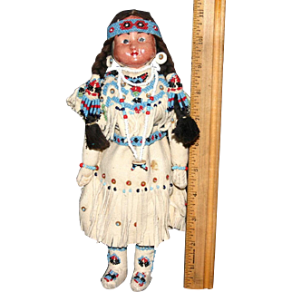 Extraordinary Native American Yamika Indian Girl leather authentic beading