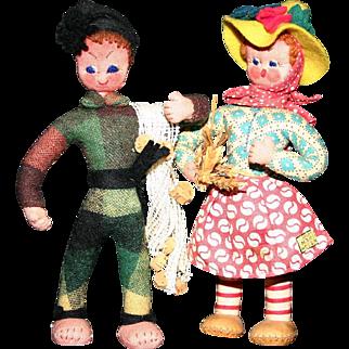 """Vintage Portugal cloth dolls Alentejo & Nazare 7"""""""